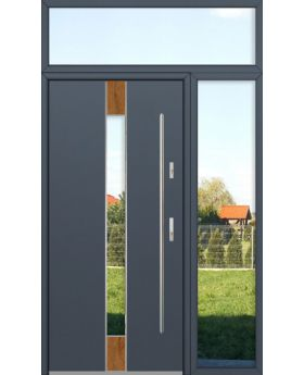 custom configuration - Fargo door with right and top sidelight (view from the outside)