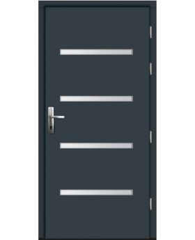 Oktacal - modern wood front door with exterior aluminum cladding
